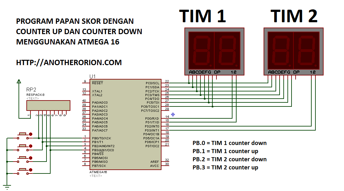 Membuat Papan Skor Counter Up/Down Codevision