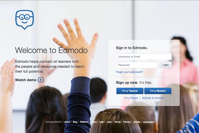 Edmodo log in page