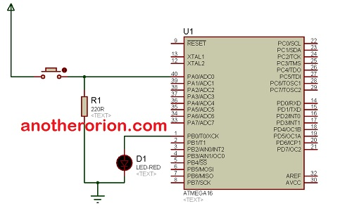 belajar mikrokontroler atmega16 push button led