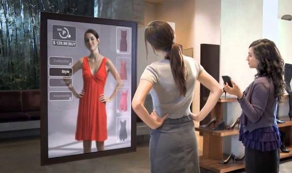 teknologi terbaru magic smart mirror Mango-x-Vodafone-digital-fitting-rooms-AR-mirror